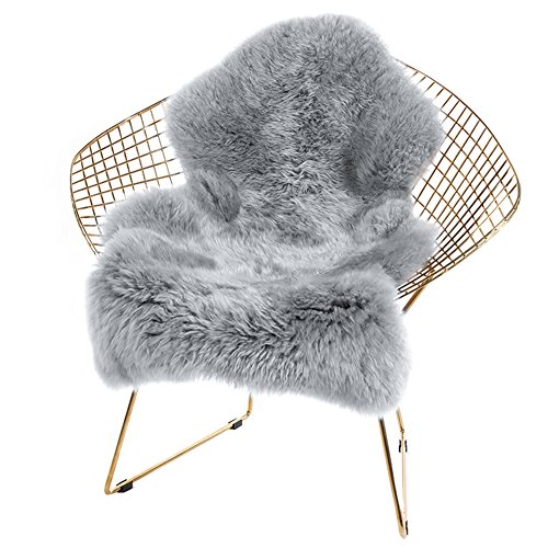 Noahas Faux Fur Sheepskin Silky Seat Cushion, Home Decor Long Wool Area Rugs Carpet, Soft Fluffy Plush Chair Seat Pads Universal Fit for Home Office Restaurant Chair, 2ft x 3ft Grey