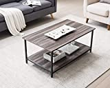 AMOAK Industrial Coffee Table with Storage Shelf, Vintage Wooden Board with Stable Metal Frame, Wood Look Furniture with Rustic Coffee Table for Living Room, Retro Gray