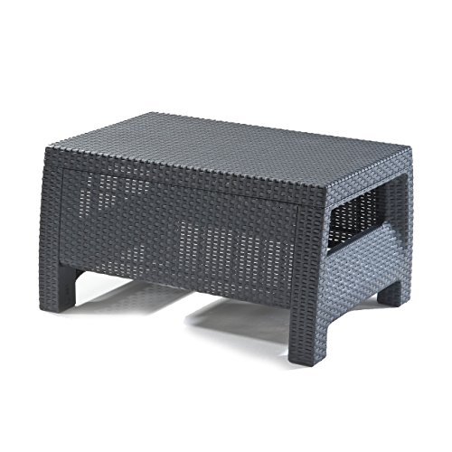 Keter Corfu Rattan Outdoor Garden Furniture Coffee Table - Graphite