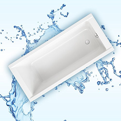 AQUABAD® KOMPLETTSET - Badewanne SOLIDO 180x80 cm + Träger + Viega Ablauf Chrom Überlauf