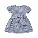 Zerototens Girls Dresses,1-7 Years Old Toddler Infant Kids Clothes Long Sleeve Purple Striped Cartoon Animal Print Cotton Dress Autumn Winter Casual Mini Skirt One-Piece Dress (6-12 Months, Blue)