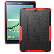 Tab S2 9.7 Case, iCoverCase [Heavy Duty] Hybrid Shock Proof Protective Case Dual Layer Armor Defender Rugged Drop Proof Cover with Kickstand for Samsung Galaxy Tab S2 9.7 SM-T815/SM-T810 (Red)