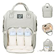 Diaper Bag Multi-Function Waterproof Travel Backpack Nappy Bags for Baby Care, Large Capacity, Stylish and Durable, Mom Bag by Lifecolor (Light Gray)