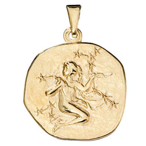 JOBO pendentif en or jaune 333 du zodiaque vierge