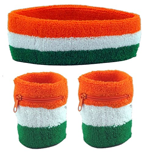 Funny Guy Mugs Flag of Ireland Unisex Sweatband Set (3-Pack: 2 Wristbands with Zipper/Wrist Wallet & 1 Headband), Orange/White/Green -