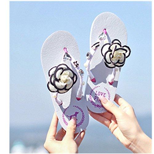 Kaka (tm) Kvinna Mode Rhinestone Glitter Studded Kristall Rem Sandaler Flip Flops Platta Skor Sandaler £ 7-8 £ © Vit Vit