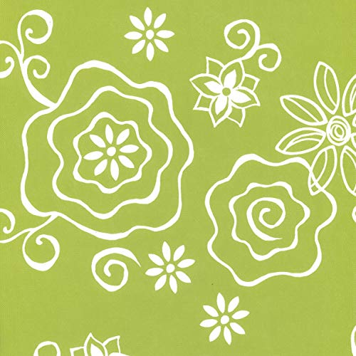 Covers For The Home Deluxe Stitched Edged Flannel Backed Vinyl Drop Tablecloth - Tonal Line Work (Green) Pattern - 60