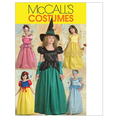 McCall's M5494 Girl's Witch and Princess Halloween Costume Sewing Patterns, Sizes -