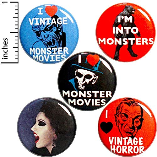Monster Movies 5 Pack Buttons Pins 1 Inch P12-4]()