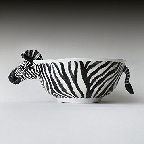 Black and White Zebra Ceramic Bowl, striped Art Ceramic soup bowl, salad bowl, handmade cereal bowl, children tableware, zebra Soup mug
