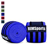 RIMSports Knee Wrap Pair 80in Powerlifting Gym Equipment(Blue)