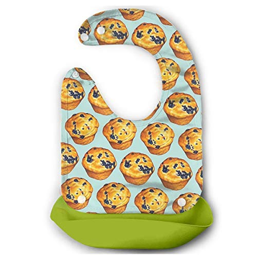 Blueberry Cupcakes Pattern Waterproof Silicone Baby Bibs Easy Clean And Soft Drool Bibs ()