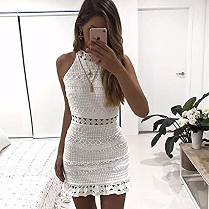 Wall of Dragon New Vintage hollow out lace dress women Elegant sleeveless white dress summer chic