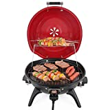 Techwood Indoor/Outdoor Electric BBQ Grill-Adjustable Temperature Control-18inch Round Portable Home Barbecue Grill-TWBG-01R