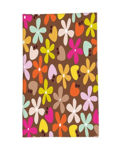 Interestlee Fleece Throw Blanket Flower Floral Decor with Daisies and Tulips Bud in Cartoon Style Brown Backdrop Art Print (Daisies Print Scrub)