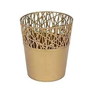 Redonda de plástico maceta 16cm ciudad decoración de la parte superior de la araña Web, color oro viejo