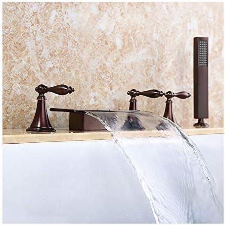 温水と冷水を備えた拡張された滝の浴槽の蛇口広大な5穴3ハンドル3ハンドルバスルームの浴槽の蛇口デッキマウントバスシャワーミキサータップハンドヘルドシャワー付き