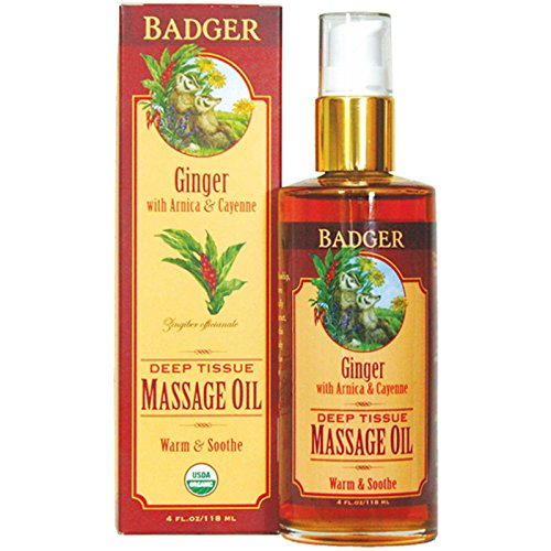 Badger Company, Deep Tissue Massage Oil, Ginger with Arnica & Cayenne, 4 fl oz (118 ml) - 2pc ()