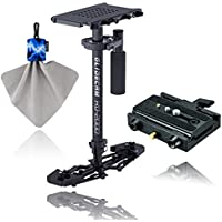 Glidecam HD-2000 Hand-Held Stabilizer + Manfrotto 577 Rapid Connect Adapter with Sliding Mounting Plate+ Spudz Microfiber Cleaning Cloth with Pouch Blue Lightning