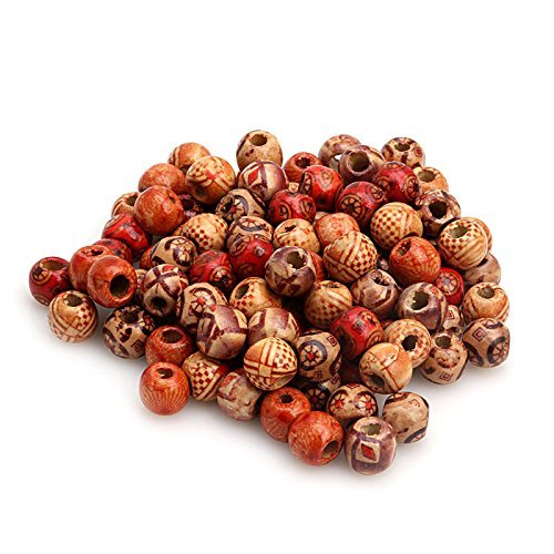 Zadaro 100pcs 10mm Mixed Pattern Printed Wooden Round Beads for Jewelry Making Loose Spacer Charms Large -