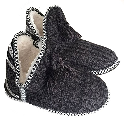 Women's Indoor Slipper Boots Ladies Girls Winter Warm Cotton Cable Knit Plush Fleece Lined Ankle High Snow Booties Lounge House Relaxed Slip on Non-Slip ()