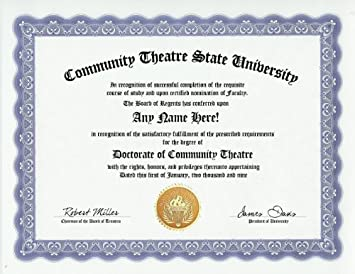 com community theatre actor acting degree custom gag  community theatre actor acting degree custom gag diploma doctorate certificate funny customized joke gift