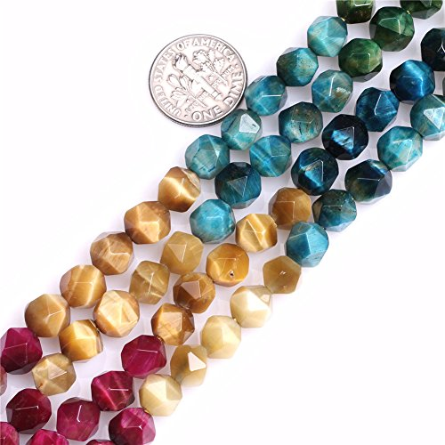 (Tiger Eye Beads for Jewelry Making Gemstone Semi Precious 8mm Faceted Multicolored 15