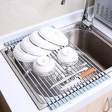 Escurreplatos de silicona enrollable para fregadero Escurridor de Cubiertos estante del plato de secado 52 x 33 x 0.6cm