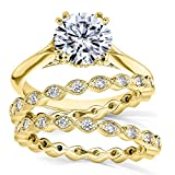 Moissanite (DEF) and Diamond Bridal Set 2 1/4ct TCW in 14k Yellow Gold