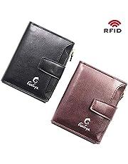 Portefeuille pour Hommes en PU avec RFID bloquant Un Porte-Cartes de crédit avec Porte-Cartes de crédit avec Poche à Monnaie zippée pour Hommes(H-5)