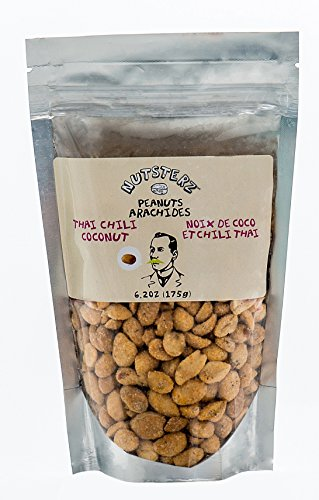 Thai Chili Coconut Peanuts from Nutsterz, 12 Pack of 6.24oz Bags of Thai Coconut Peanuts; Spicy Chili & Sweet Coconut Peanuts, Peanuts with Natural Flavors, Healthy, Delicious and Nutritious (12 (Roasted Nut Roll)