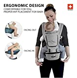 MiaMily Hipster Plus – High Quality Swiss Brand – Approved by Global Wide Safety Standards – Child & Baby Front Carrier – Protection for Baby & 9 Different Uses – Fits all Sizes – Color Stone Grey For Sale