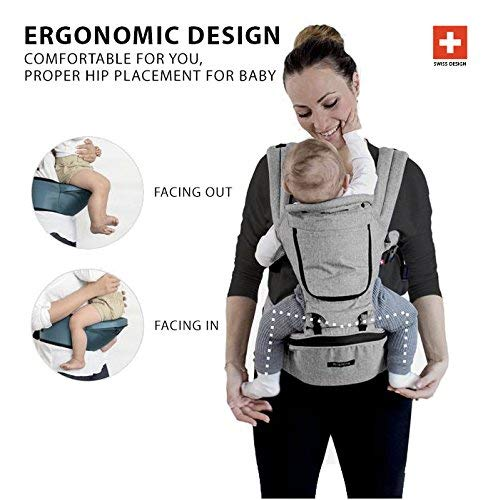 MiaMily Hipster Plus - High Quality Swiss Brand - Approved by Global Wide Safety Standards - Child & Baby Front Carrier - Protection for Baby & 9 Different Uses - Fits all Sizes - Color Stone Grey