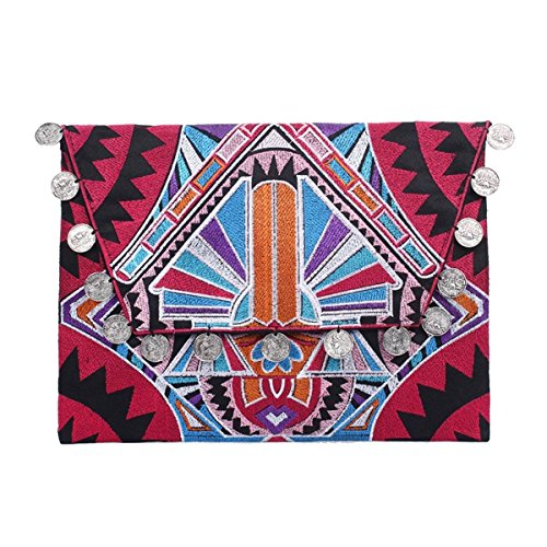 Art Deco Handbag - Ethnic Lanna, Handmade Hmong Deco Jaw Pink Clutch Bag with Coins.