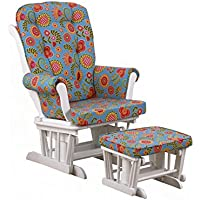 Cotton Tale Designs Glider Floral on White with Ottoman, Gypsy, Large