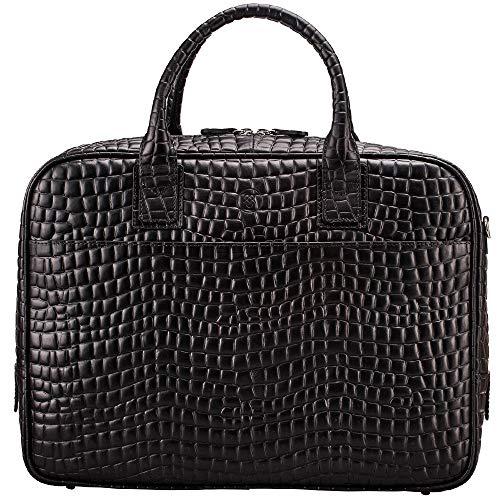 Maxwell Scott Men's Mock Croc Leather Briefcase - Calvino Croco Black