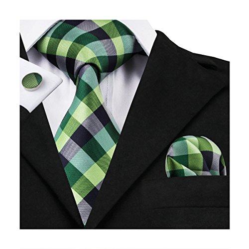Hi-Tie Mens Green Check Plaid Tie Set Necktie with Cufflinks and Pocket Square Woven Silk Tie ()