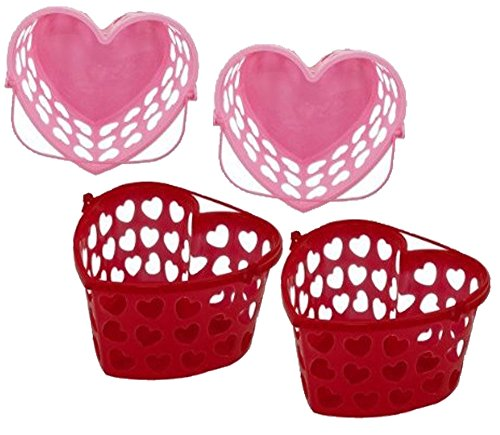 Red & Pink Heart Shaped Favor Container Buckets! Featuring Cutout Heart Shaped Sides & Plastic Handles!