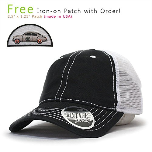 Vintage Year Washed Cotton Low Profile Mesh Adjustable Trucker Baseball Cap (Black/Black/White) Cotton Trucker Cap