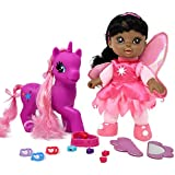 "Adorable 8"" Fairy Doll African American With Dark Pink Unicorn Pony, Pony Wonder Land Set Comes with Mirror, Comb, clips, bead and more Accessories for Pony's and Doll's Hair"