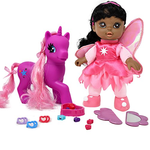 """Search : Adorable 8"""" Fairy Doll African American With Dark Pink Unicorn Pony, My Little Pony Wonder Land Set Comes with Mirror, Comb, clips, bead and more Accessories for Pony's and Doll's Hair"""