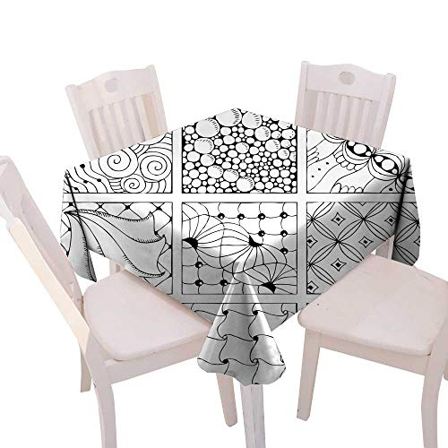 longbuyer Wrinkle Free Tablecloths Hand Drawn Decorative Background for Coloring Page Square Tablecloth W 70