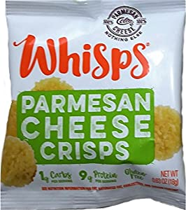 Whisps Cheese Crisps Single Serve Bags 63oz 12 Pk Assortment 6 Parmesan 6 Cheddar from Cello Whisps