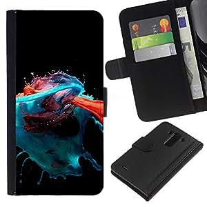 All Phone Most Case / Oferta Especial Cáscara Funda de cuero Monedero Cubierta de proteccion Caso / Wallet Case for LG G3 // Paint Splash Modern Art Orange Blue Red Black