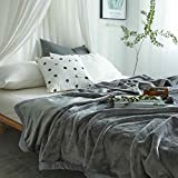 Ruikasi Flannel Blanket Gray Queen Size Summer Cooling Warm Plus Microfiber Lightweight Blankets for Bed Couch Sofa,80 by 90 Inches