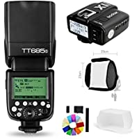 Godox TT685S 2.4G HSS 1/8000S TTL GN60 Flash Speedlite with X1T-S Trigger Transmitter Kit, Flash Diffuser 23 23cm Softbox and Flash Color Filters for Sony A58 A7RII A7II A99 A9 A7R A6300