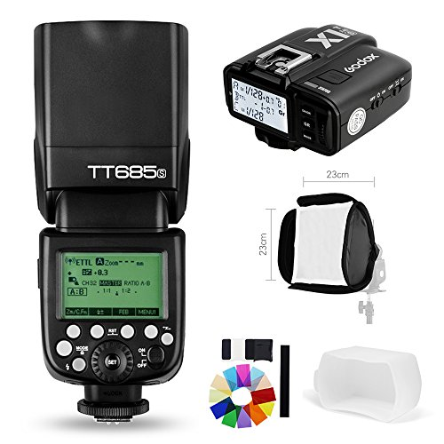Godox TT685S 2.4G HSS 1/8000S TTL GN60 Flash Speedlite with X1T-S Trigger Transmitter Kit, Flash Diffuser 23 23cm Softbox and Flash Color Filters for Sony A58 A7RII A7II A99 A9 A7R A6300 by Godox