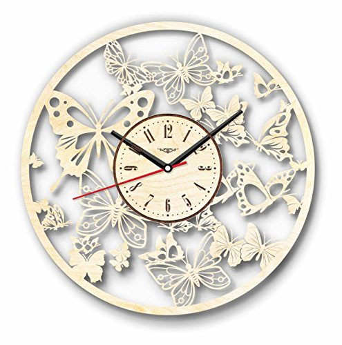 7ArtsStudio Butterfly Wall Clock Made of WOOD - Perfect and Beautifully Cut - Decorate your Home with MODERN ART - UNIQUE GIFT for Him and Her - Size 12 Inches -