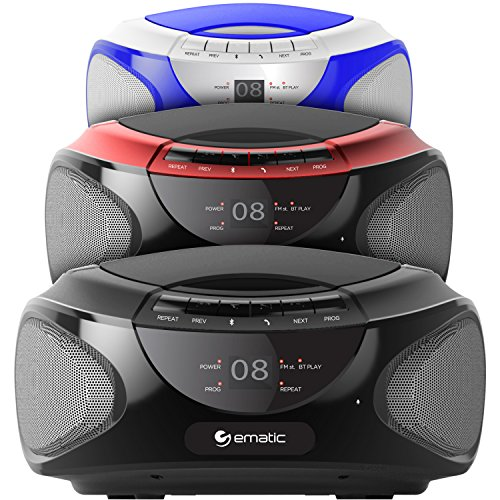 Ematic CD Boom Box with Bluetooth Audio and Speakerphone, Blue by Ematic (Image #4)