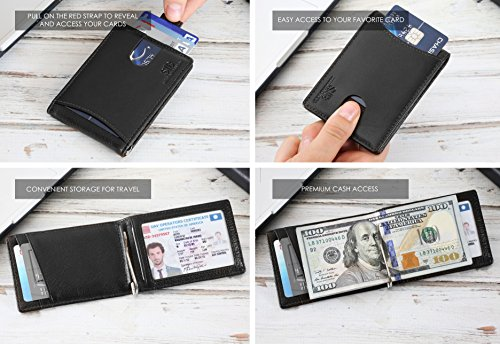 Travel Wallet RFID Blocking Bifold Slim Genuine Leather Thin Minimalist Front Pocket Wallets for Men with Money Clip - Made From Full Grain Leather (Jet Black 1.0)